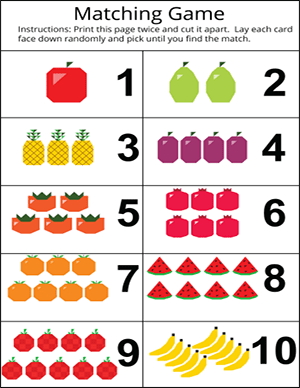 matching game for numbers 1 to 10 with fruits