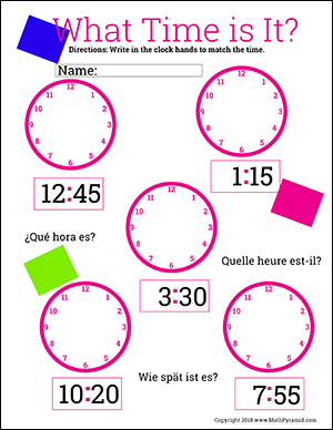 telling time worksheets fill in the hour and minute hand