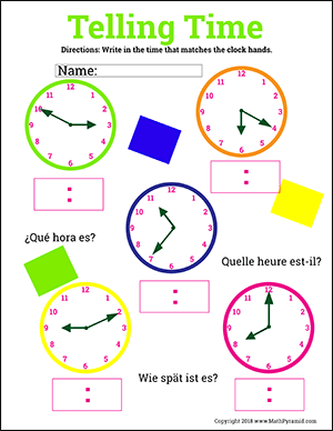 telling time worksheet with clock hands