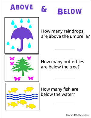 above and below counting kindergarten math worksheet