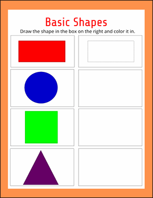 draw the basic shapes worksheet for kindergarten