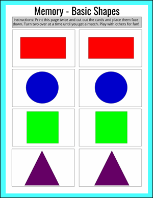 basic shapes memory game printable