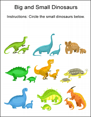 big and small dinosaur math worksheet
