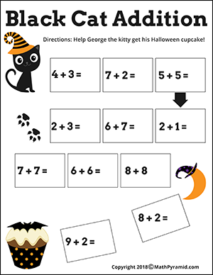 black cat addition Halloween worksheet for kindergarten
