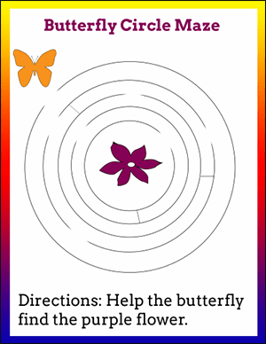 butterfly circle maze worksheet