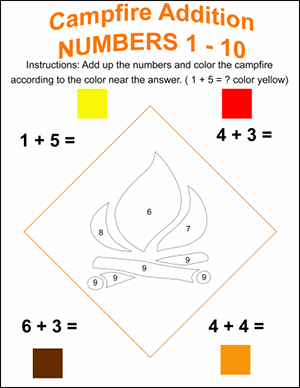 campfire color by number math worksheet