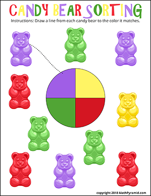 candy bear sorting math worksheet