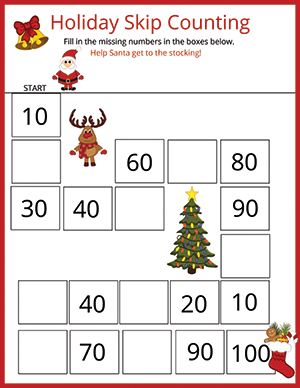 Christmas math worksheet count by 10's