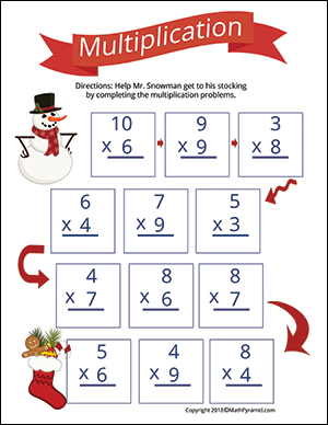 Christmas math worksheet with multiplication
