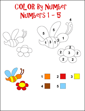 bees color by number math worksheet for numbers 1 - 5