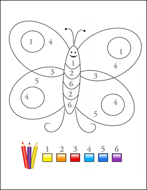 color by number worksheet numbers 1-6