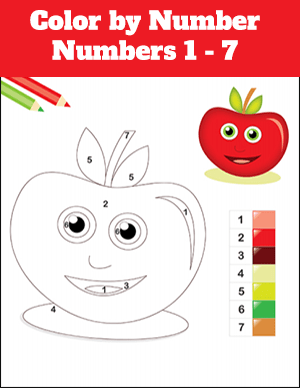 color by number worksheet numbers 1-7 apple