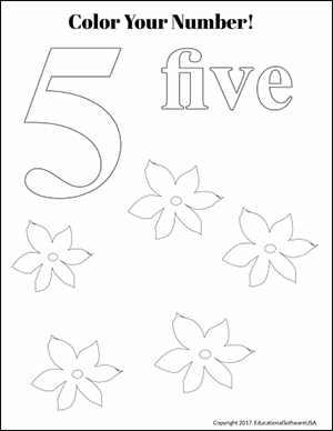 flowers color the number 5 kindergarten math worksheet
