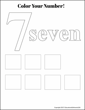 color the number 7 kindergarten math worksheet