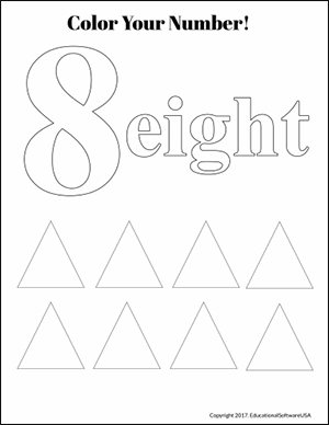 color the number 8 fun math worksheet
