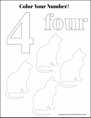 color the number 4 kindergarten math worksheet
