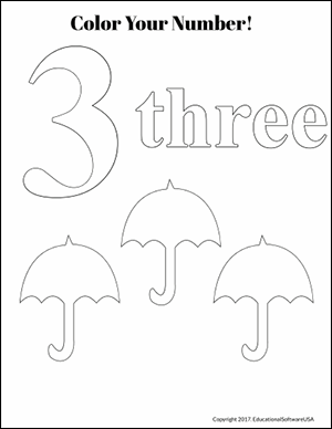 umbrella color by number three kindergarten worksheet