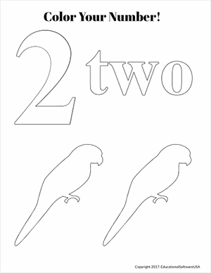 birds color the number two math worksheet