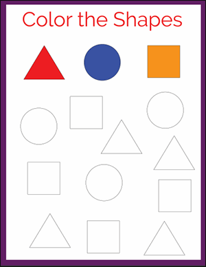 color the shapes free math worksheet