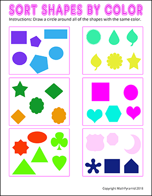 color sorting math worksheet