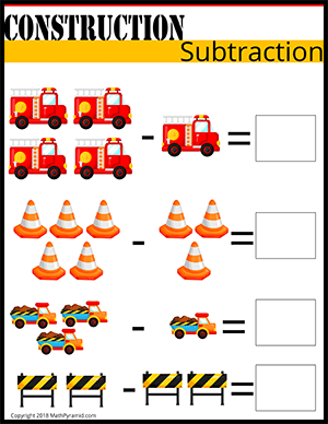 subtraction worksheet for numbers under 5 for kindergarten