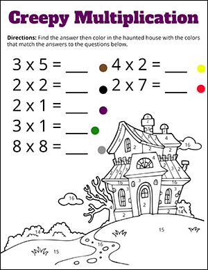 Free Halloween Math Worksheets  Math Worksheets Color By Number Multiplication Halloween Math Worksheet