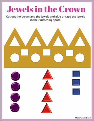 cut out the jewels for the crown shapes worksheet
