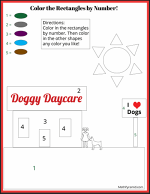 dog color rectangles by number math worksheet