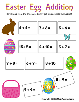 Eggs addition easter math worksheet