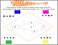 fish addition worksheet and color by number