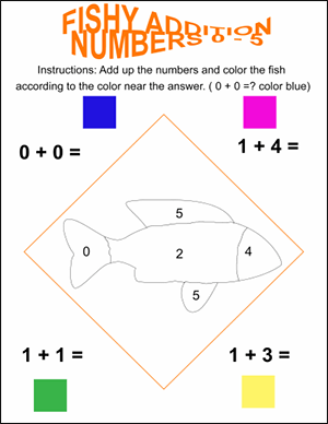 fishy color by number math worksheet