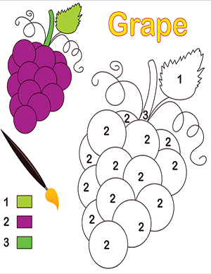 grapes color by number math worksheet