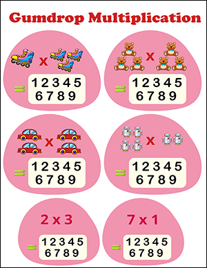 free math multiplication worksheet with gumdrops