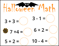 Halloween math worksheet addition and subtraction