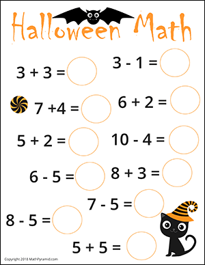 free halloween math worksheets  math worksheets halloween math worksheets