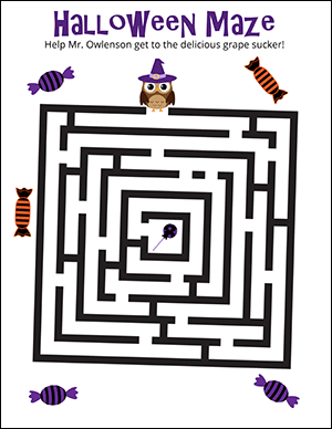 free printable Halloween math worksheet maze