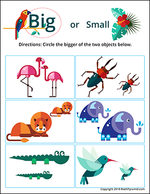 jungle animals big and small worksheet