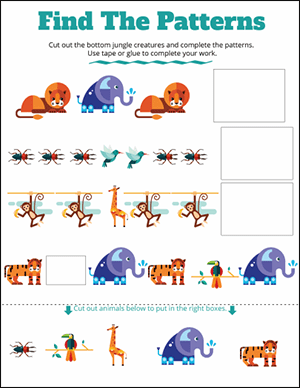 jungle math patterns worksheets