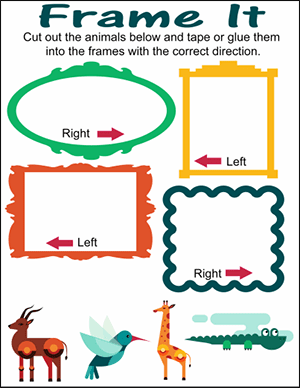 jungle animals right vs left worksheet