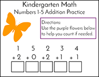butterfly addition kindergarten math problems
