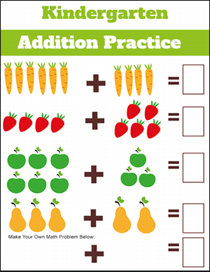 kindergarten addition worksheet with vegetables