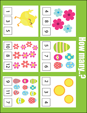counting easter worksheet for a kindergartener