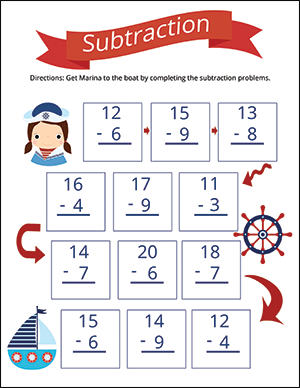 subtraction worksheet for numbers under 20 nautical theme