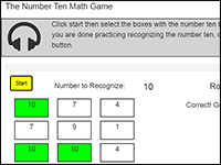 Online Math Game to practice the number 10