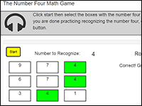 Online Math Game to practice the number 4