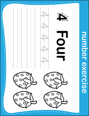 number 4 writing practice worksheet for kindergartener