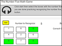 Online Math Game to practice the number 5
