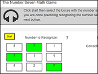 Online Math Game to practice the number 7