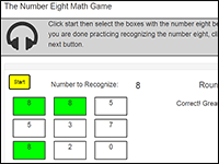 Online Math Game to practice the number 8