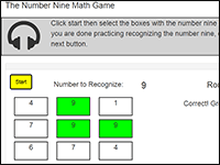 Online Math Game to practice the number 9
